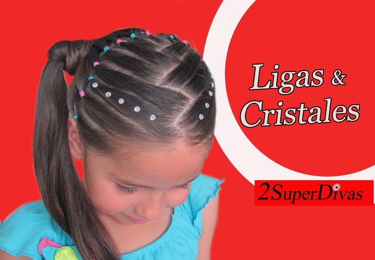 VIDEO Paso a paso - Peinado de ligas y cristales. Millones de vistas en YOUTube. Aprendelo tu tambien. VIDEO tutorial - Little girls hairstyle made with elastics and crystals. Millions of views in YOUTube by www.2superdivas.com