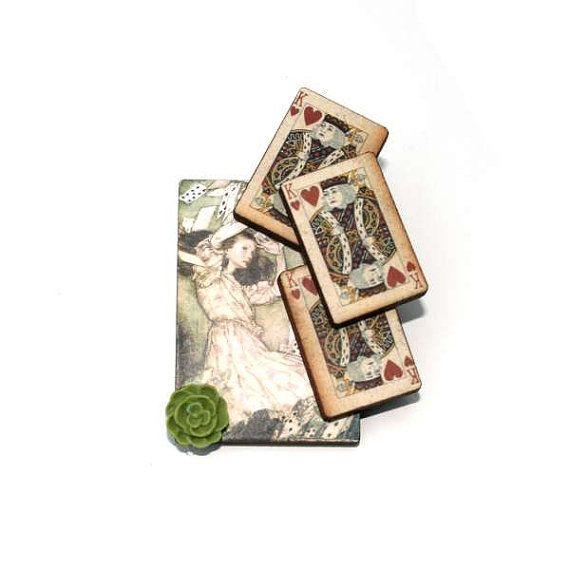 Alice in Wonderland Brooch Flying Cards Brooch by LaurasJewellery