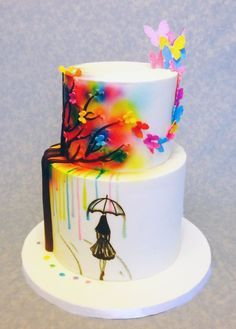 Cake is inspired by McGreevy Cake Design ~ hand painted and all edible