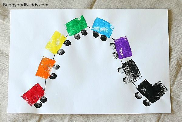 Preschool Art Project: Sponge Painted Train Craft for Kids based on Freight Train