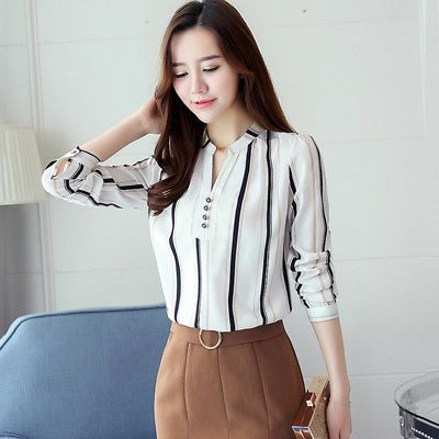 1e54d7d271de9 Korean TOPS Womens Slim Long Sleeve Plus Size Shirt V Neck S~3XL Fashion  Office