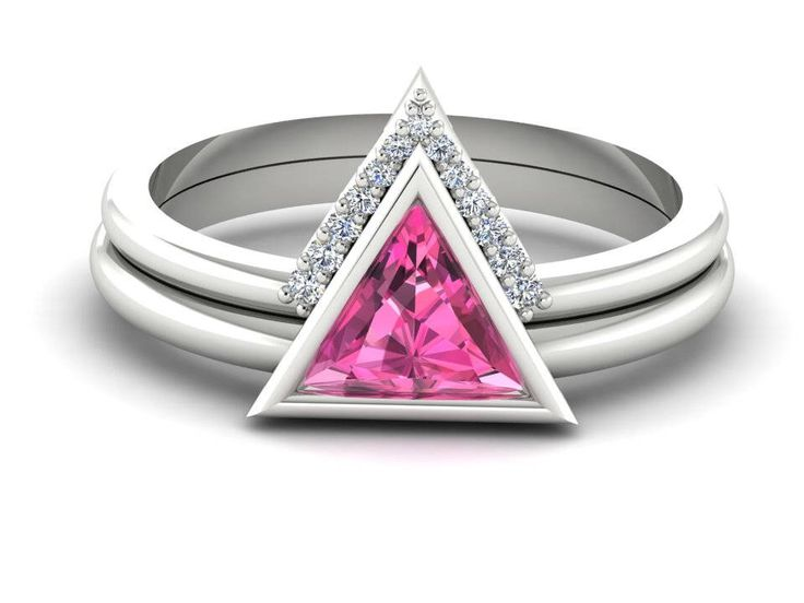 Geometric proposal ring, Triangle rings set, Pink sapphire Engagement and Wedding set by BridalRings on Etsy https://www.etsy.com/listing/532292826/geometric-proposal-ring-triangle-rings
