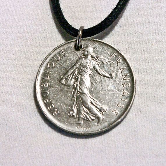 FRANCE Coin Necklace 5 Francs 1974 Coin by AlterDecoCoinsnBeads