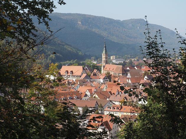 Blick über die Kleinstadt Bad Urach