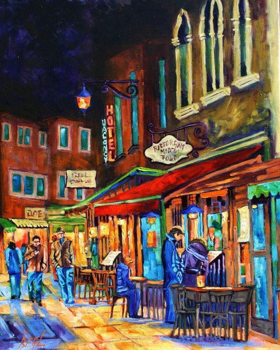 Art Original Oil Painting Landscape People Evening Out by rbealart, $649.00