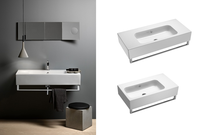 GSI ceramic | Traccia - The washbasins 100, 80 are bolder and more formal appearance, with a markedly quadrangular shape; they can be installed floor standing or wall-hung and are all provided with a quick fastening system for a towelrail.  #GSIceramica #BathroomDesign #Washbasins #Sanitaryware