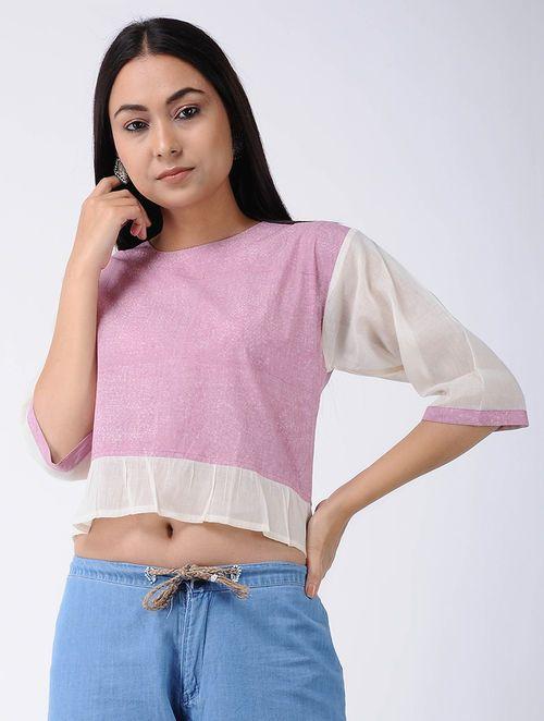 05490dff5ef Pink Block-printed Cotton Crop Top in 2019   akwa   Crop tops ...