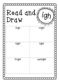 Read and Draw - igh  Follows the UK Letters and Sounds program. Phase 3