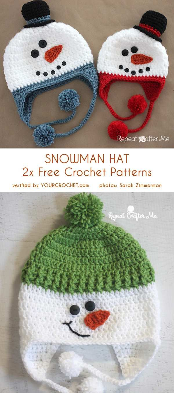 3b7a56e68bf Snowman Hat 3+ Free Crochet Patterns sizes from Newborn to Adult ...