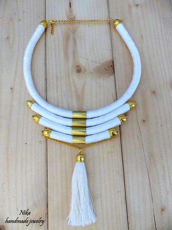 white necklace Masai jewelry African by NikaHandmadeJewelry
