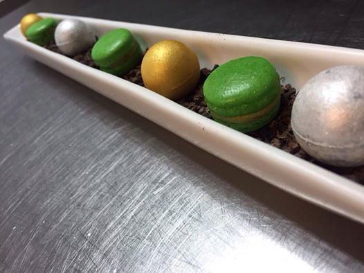 No filters needed for this mignardises  Silver for apricot and dark chocolate wasabi Gold for camomile and mascarpone ganache  Green tea matcha and lime macarons