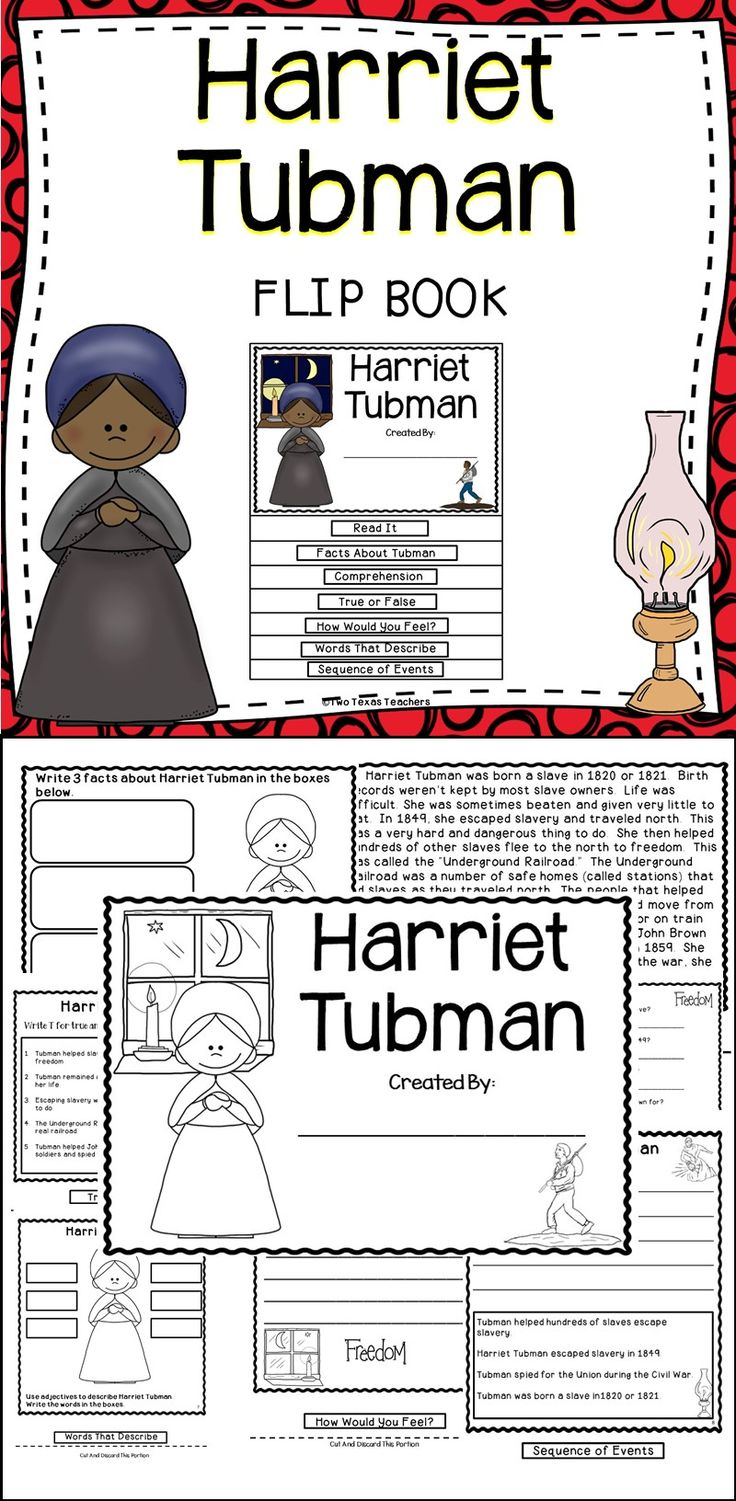 Harriet Tubman - This Harriet Tubman Flip Book Is A Fun And Engaging Educational Resource For The Classroom! This Flip Book Is A Great Activity To Use During Black History Month!