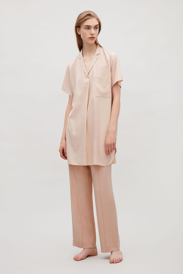COS image 1 of Silk tunic top in Biscuit