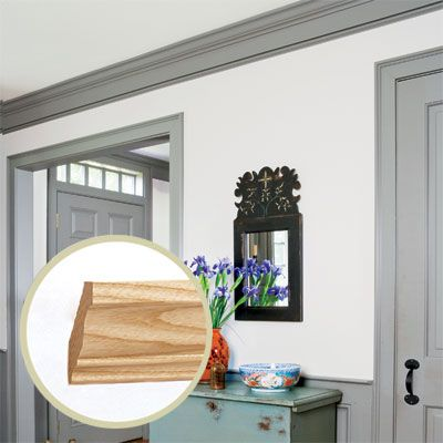 Simple crown molding profiles were popular in the Colonial era. Inset: 2¼-inch-high B304 in ash, about $1.15 per linear foot, plus about $65 custom fee; Baird Brothers Sawmill. | Photo: Jesse Walker/Cornerhouse Stock | thisoldhouse.com