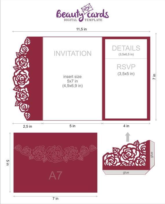 Diy Pocket Wedding Invitation Template Tri Fold Flower Rose Etsy Pocket Wedding Invitations Wedding Invitation Templates Wedding Invitations Diy