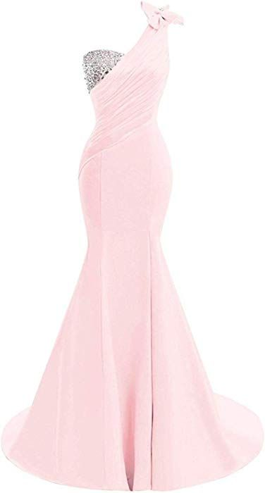 7a7537a1d17c Lily Wedding Womens One Shoulder Satin Mermaid Prom Dresses 2018 Long  Formal Evening Ball Gowns D44 Pink at Amazon Women's Clothing store:
