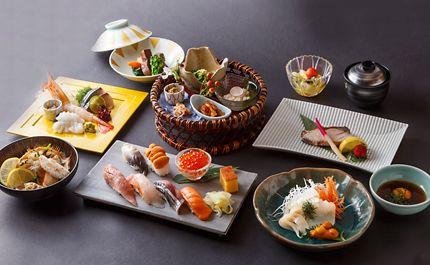 にぎり寿司・椀物・焼き魚・いかそうめん