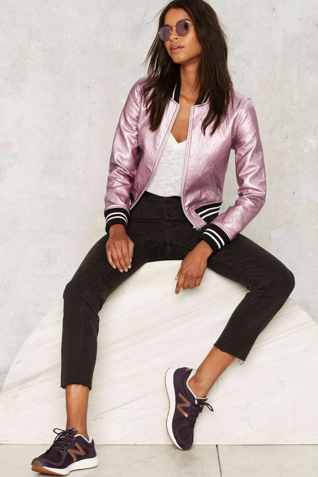 Amp up your street style with a pink metallic bomber jacket.