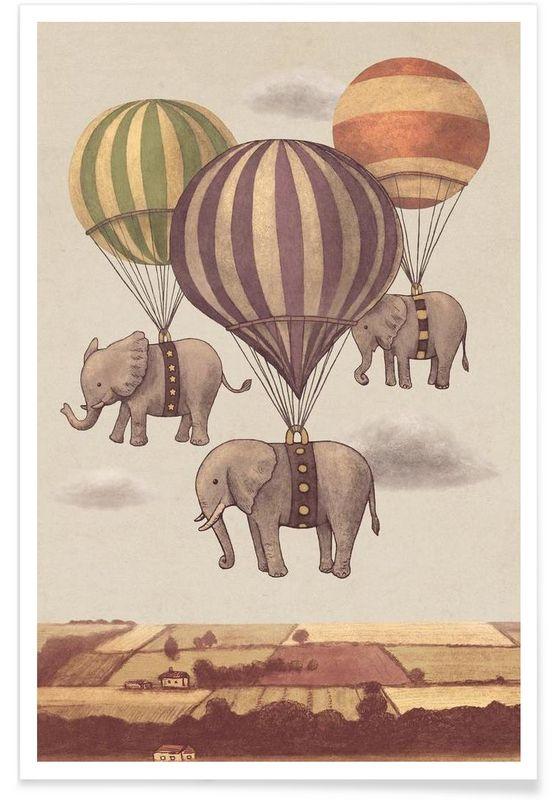 Flight of the Elephants en Affiche premium par Terry Fan | JUNIQE