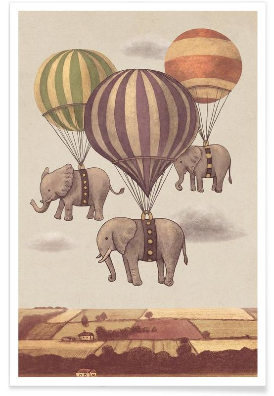 Flight of the Elephants en Affiche premium par Terry Fan | JUNIQE