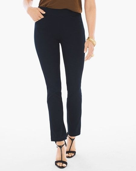 "Crepe Pants from Chico's.  Wrinkle free for traveling, stretch to fit your body.  Viscose, polyamide, & elastane.   26"", 28"", & 30"" inseams.  Great to wear with blouses, sweaters of all types, blazers, longline jackets, or a cap sleeve floral blouse in Summer.  Dressy enough for work & after, casual enough for Friday night dinner — wear with heels, black ankle boots, or black platform tennis shoes.  Three colors."