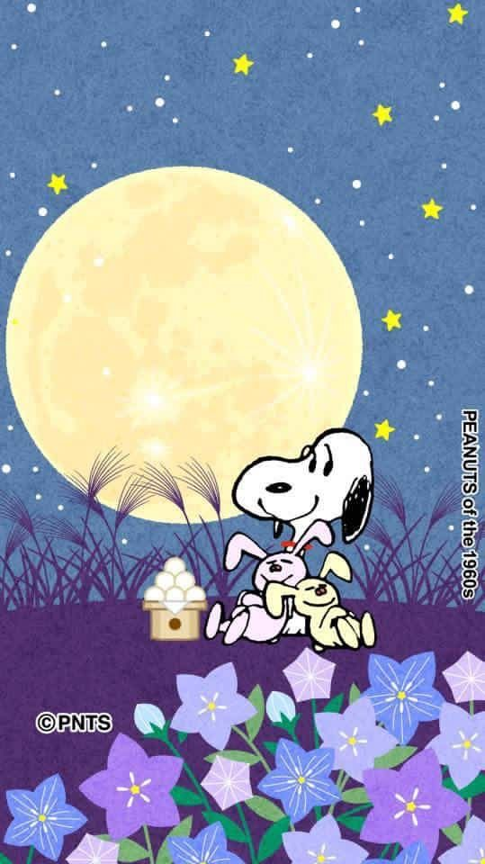 Snoopy and bunnies moonlight bathing