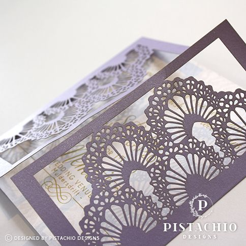 Purple gate fold wedding invitations by www.pistachiodesigns.co.za