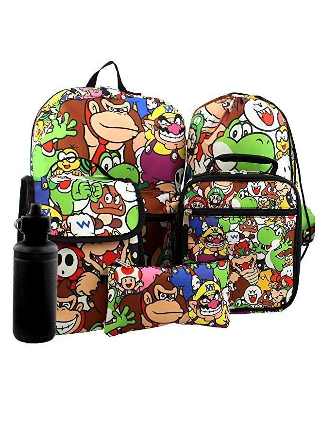 fb6db5fb80 his book bag and lunch box set features your favorite Nintendo Super Mario  characters  Mario
