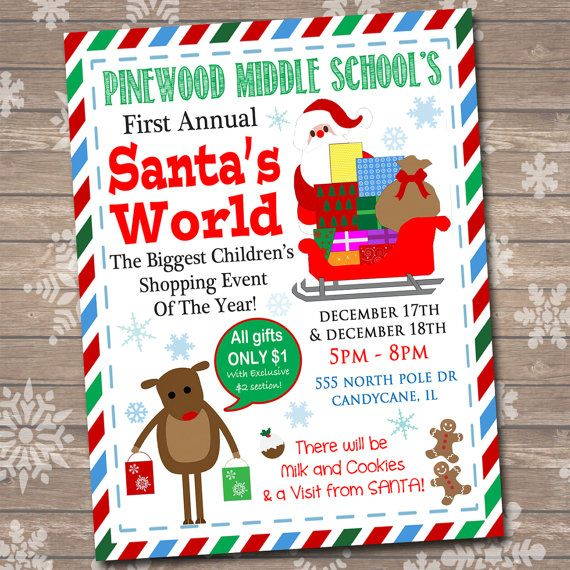 school christmas shopping flyer  breakfast with santa  kids xmas shopping invitation  children u0026 39 s