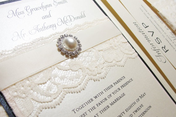 Gorgeous lace wrapped wedding invitations!