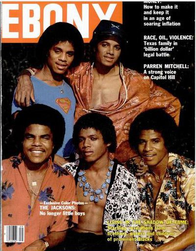 """The Jacksons: No longer little boys."" Ebony Magazine featuring Marlon Jackson, Michael Jackson, Tito Jackson, Randy Jackson, and Jackie Jackie."