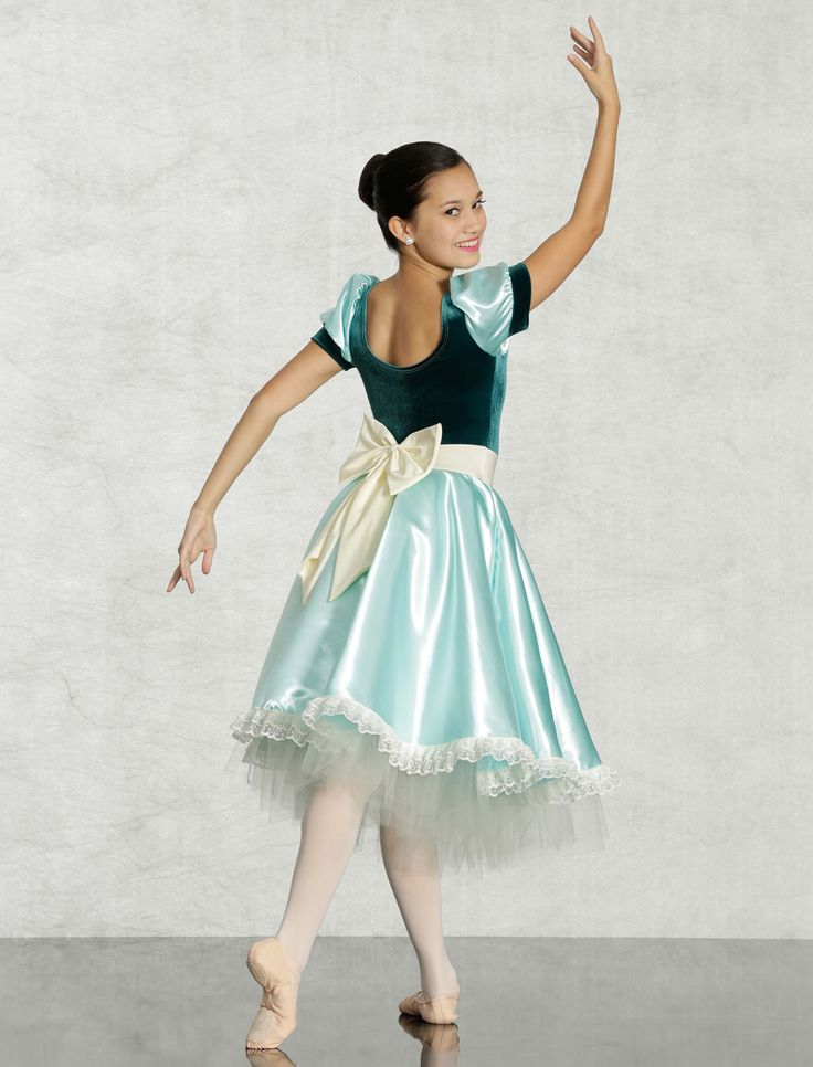 ELIZABETH - Pretty party dress with stretch velvet sweetheart bodice, big back bow and lots of lace all around. Leotard and petticoat attached, choose light blue, aqua or lavender. Made in all child and adult sizes.