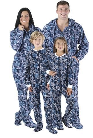 01d87462a6a8 SleepytimePjs Family Matching Fleece Navy Snowflakes Onesie Footed ...