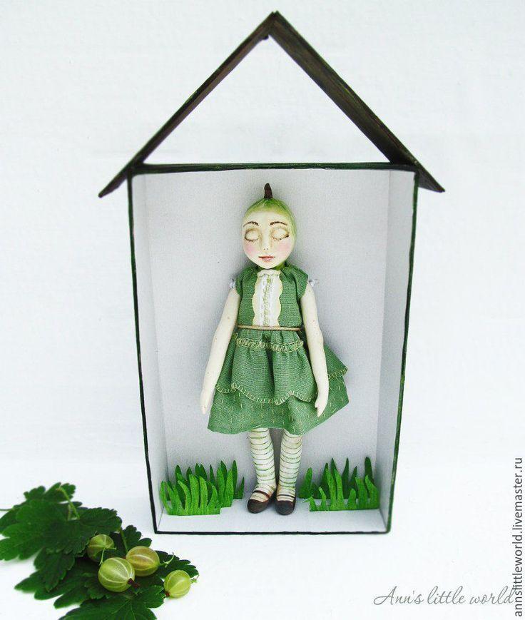 Купить Крыжовинка авторская кукла ручной работы - ягодка, крыжовник, жимолость, кукла ручной работы