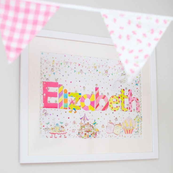 Personalised Girls Name Framed Illustration  The perfect nursery wall art decor.  Perfect gift for a new baby girl or for a special little girls birthday.