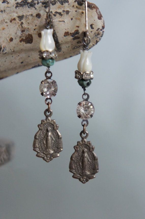 Vintage assemblage earrings religious by frenchfeatherdesigns, $52.00