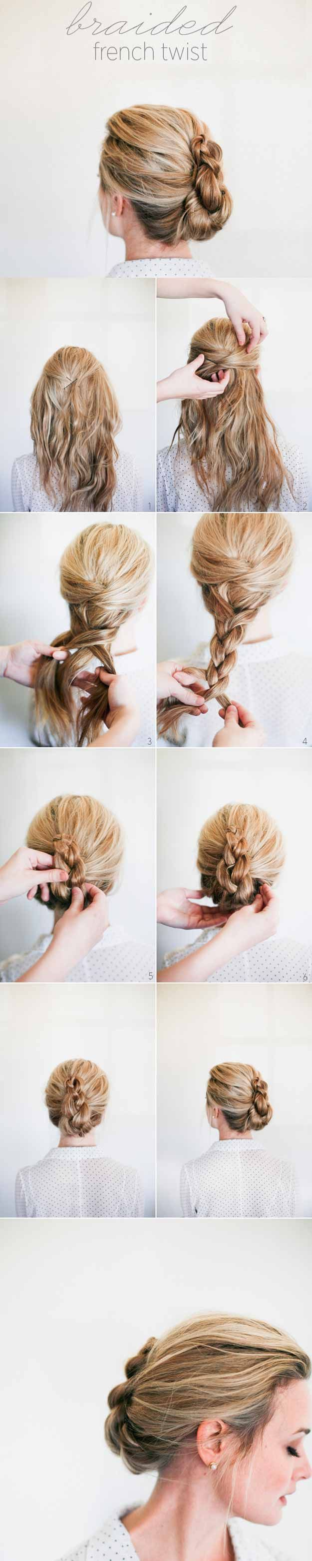 Best 5 Minute Hairstyles - Braided French Twist How To - Quick And Easy Hairstyles and Haircuts For Long Hair, That Are Super Simple and Great For Busy Mornings Or For School. Braids, Undo's, Ponytail Looks And Hair Styles For Short Hair, Medium Length Hair, And Long Hair. Step By Step Tutorials, Tips, And Hacks For Teens, For Kids, And For Wet And Dry Hair. Great Looks For Curls, Simple And Cute Braids With Half Up Half Down Hairstyles. Five Minute Looks For Church, For Shoulder Length…