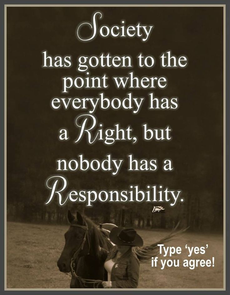 "So many feel a sense of ""entitlement"" when what they should be feeling is a sense of ""responsibility""."