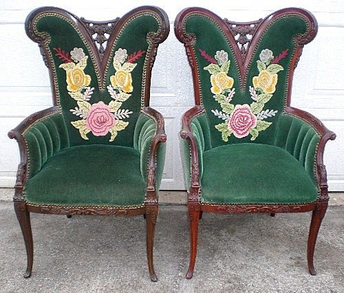 Victorian Parlor Chairs W/ Embroidery