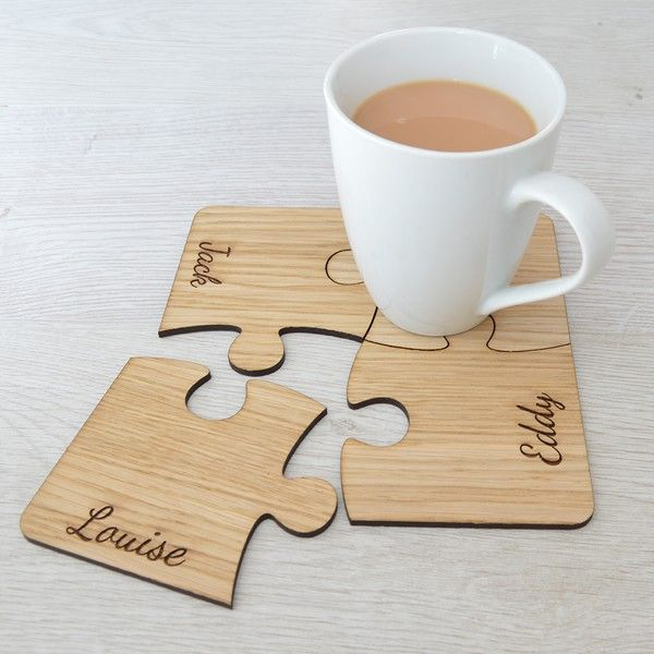59 best new home and house warming gifts pretty personalised personalised family set of four oak wood jigsaw coasters solutioingenieria Images