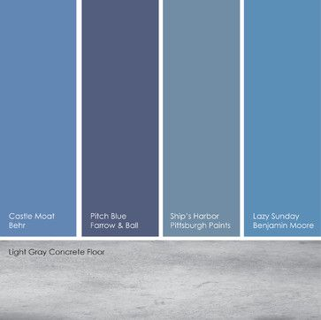 You can go with a pure blue or dial it down with shades that have more white or gray. I like pairing true blues with light gray concrete or tile.  From left to right: Castle Moat, from Behr; Pitch Blue, from Farrow & Ball; Ship's Harbor, from Pittsburgh Paints and Lazy Sunday, from Benjamin Moore.