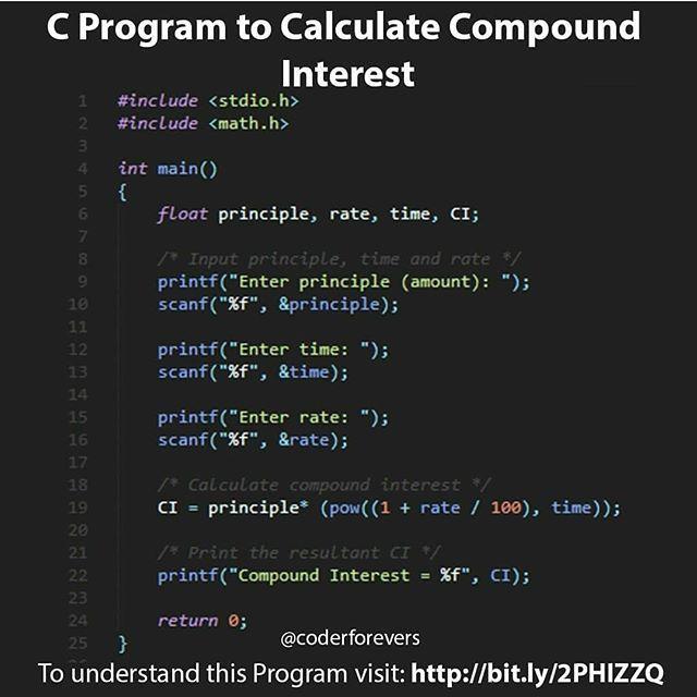 C Program To Calculate The Compound Interest Dm For Web And App Development Digital Marketing A Programming Tutorial C Programming C Programming Tutorials