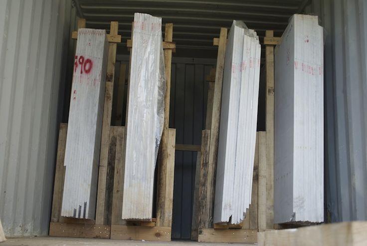 White Marble Of Panagias (Kavala Marble) by Mertika Marble LTD #SemiWhite #Marble #carrara , slabs container, slabs backet, slabs packet, slabs package