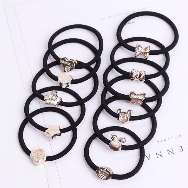 Women Black Elastic Hair Rubber Hair Rubber Bands Hair
