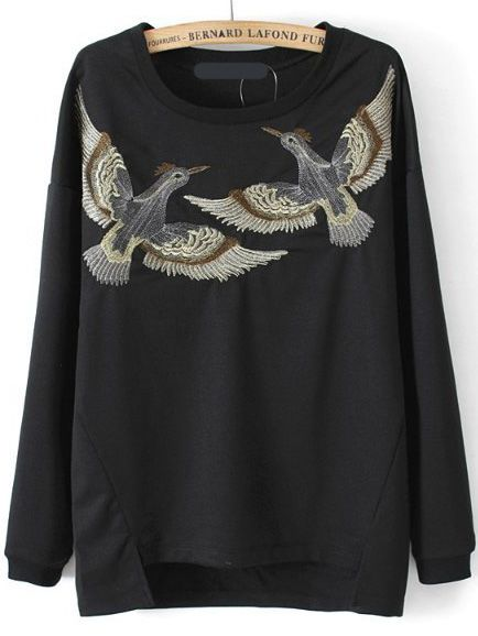 Sweat-shirt trapèze fendu oiseau brodé  15.84