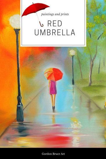 Red umbrella rainy day #paintings