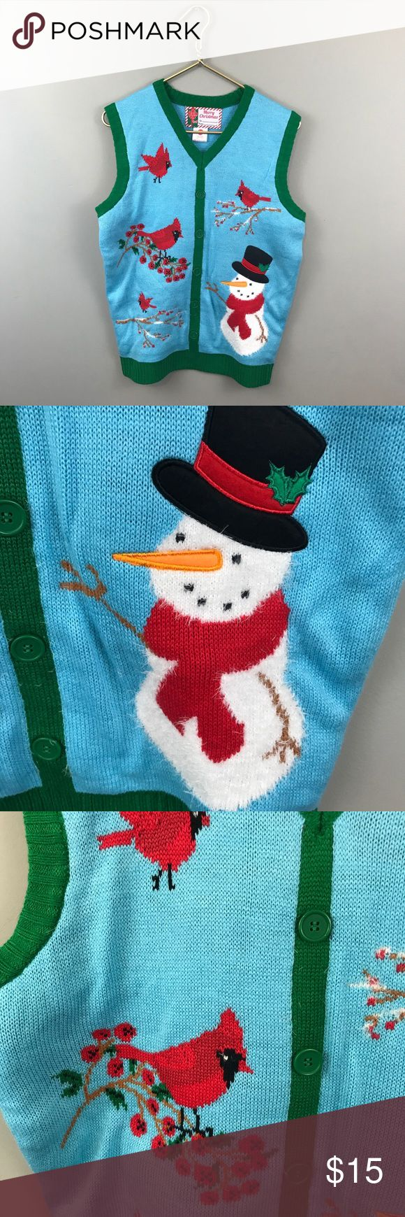 Ugly Christmas Sweater Vest Great preowned condition. Does not unbutton, one solid vest. Bust 19 length 25.5 Tops