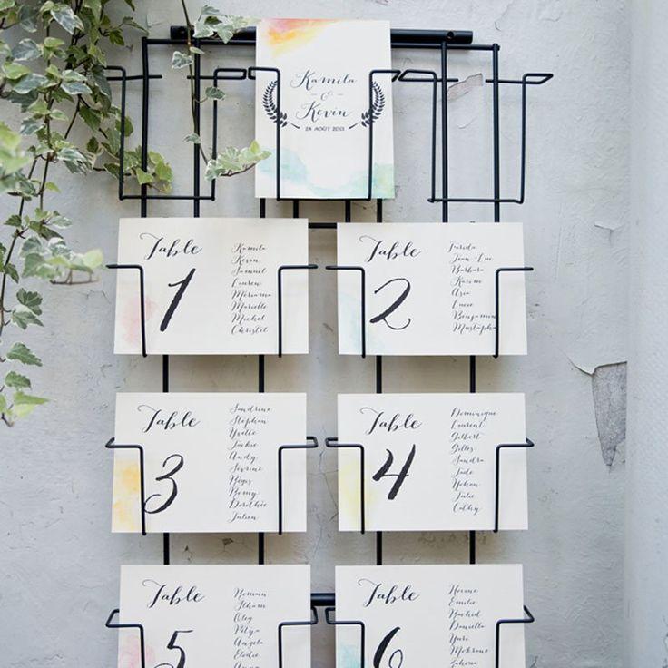 Un plan de table sur un porte cartes postales - DIY ideas for seating plans