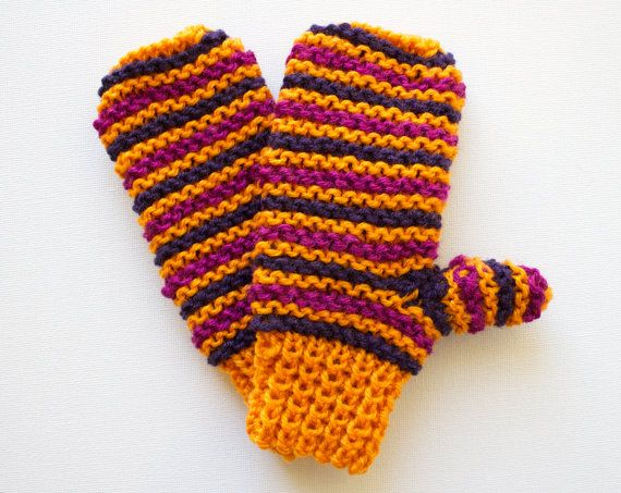 Jack O'Lantern Orange Pixie Mittens - Children's Orange Mittens for Halloween Fall Thanksgiving and Autumn - Pumpkin Mittens for Kids by StripyKite
