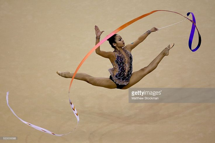 Aliya Assymova of Kazakhstan competes during the Rhythmic Gymnastics Individual All-Around Qualification at the Final Gymnastics Qualifier - Aquece Rio Test Event for the Rio 2016 Olympics - Day 6 at the Rio Olympic Arena on April 21, 2016 in Rio de Janeiro, Brazil.